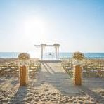 wedding set up on beach,chair